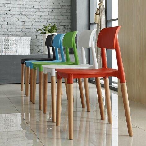 Pack 6 sillas madera, polipropileno azul