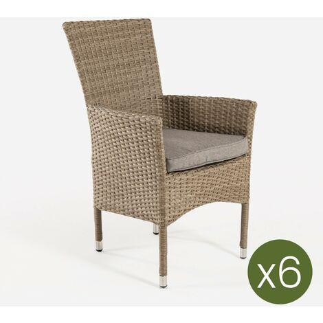 Pack 6 sillones de exterior apilables | Tamaño: 55x62x92 cm | Aluminio y rattán sintético color natural | Cojín marrón | Portes gratis - Natural-plano