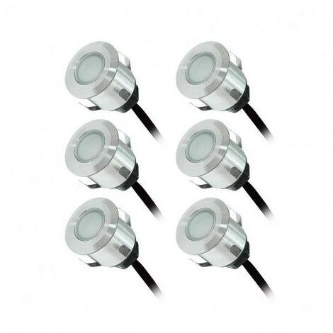PACK 6 x SPOT LED Encastrable Terrasse 12V Rouge + Transfi 230 V