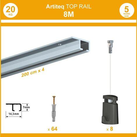 Pack 8 mètres cimaise Top Rail couleur Aluminium anodisé - Cimaise rail plafond pour suspension cadres et tableaux - 8 câbles Micro Perlon 150 cm