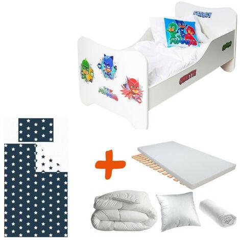 Pack 8en1 Lit Junior Héros Pyjamasques Matelas + Oreiller + Couette + Taie+ Housse de couette +Drap housse