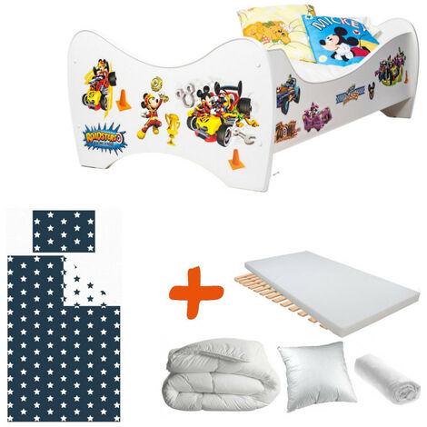 Pack 8en1 Lit Junior Mickey Mouse avec Matelas + Oreiller + Couette + Taie+ Housse de couette +Drap housse