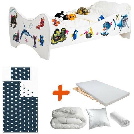 Pack 8en1 Lit Junior Nemo avec Matelas + Oreiller + Couette + Taie+ Housse de couette +Drap housse