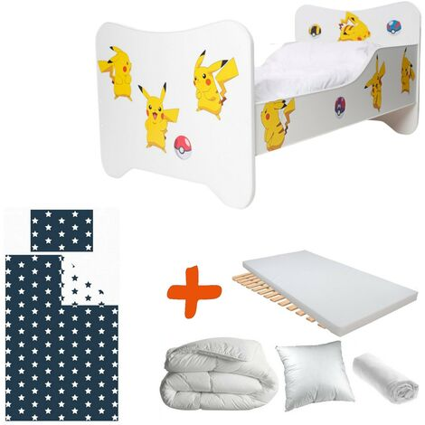 Pack 8en1 Lit Junior Pikatchu Pokemon Matelas + Oreiller + Couette + Taie+ Housse de couette +Drap housse