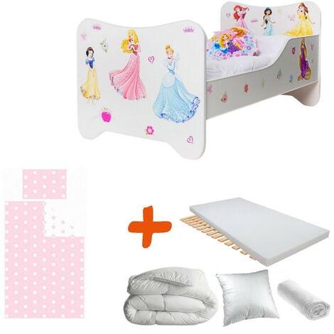 Pack 8en1 Lit Junior Princesses Matelas + Oreiller + Couette + Taie+ Housse de couette +Drap housse