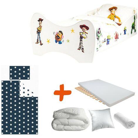 Pack 8en1 Lit Junior Toy Story avec Matelas + Oreiller + Couette + Taie+ Housse de couette +Drap housse