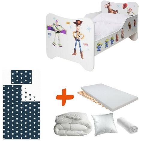 Pack 8en1 Lit Junior Toy Story Matelas + Oreiller + Couette + Taie+ Housse de couette +Drap housse