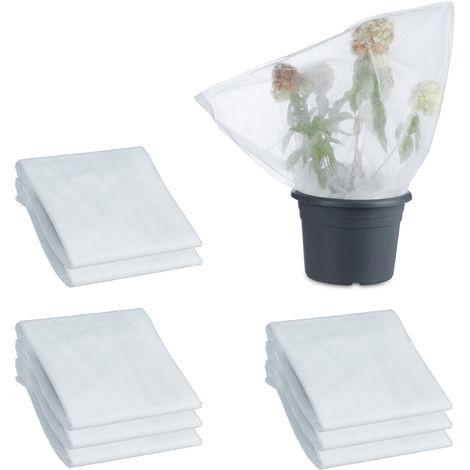 Pack 9 Mallas Antiheladas para Plantas y Árboles con Cordón, Polipropileno, Blanco, 80 x 100 cm