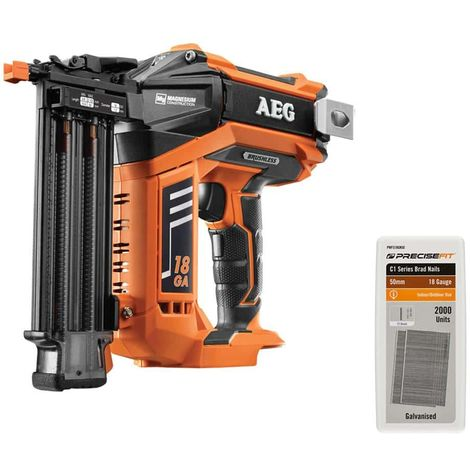 Pack AEG 18V B18N18-0 Brushless Finishing Nailer - Refill 2000 points PRECISEFIT 18G 50mm PWF518GN50 - Without battery o