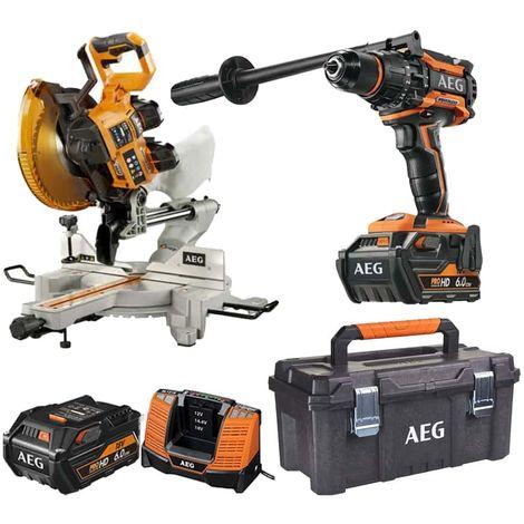 Pack AEG 18V Brushless Impact Drill BSB18BL-602C - Lijadora de cinturón sin escobillas 18V BHBS1875BL-0 - Caja de almac