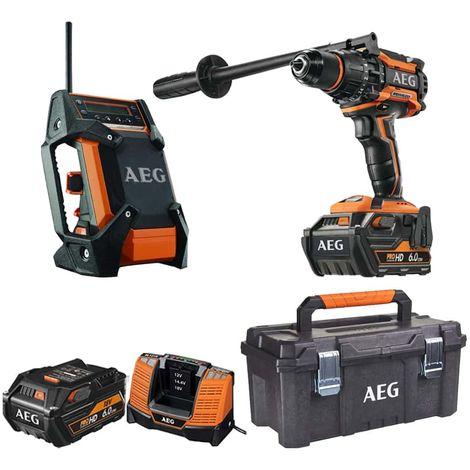 Pack AEG 18V Brushless Percussion Drill BSB18BL-602C - Field radio 12-18V DAB+ USB BR 1218C-0 - Storage box 53.5x 28.8x