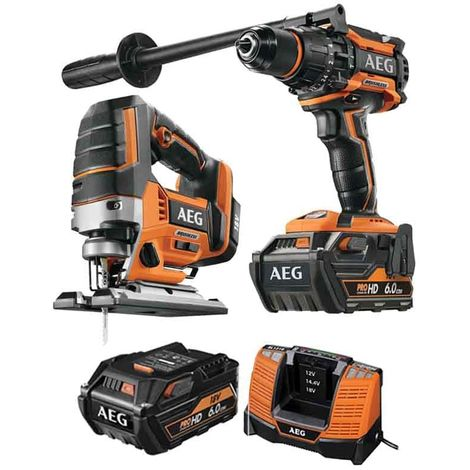 Pack AEG BSB18BL-602C 18V Brushless Percussion Drill BSB18BL-602C - 18V Brushless Jigsaw BST18BLX-0 - 2 batteries 6.0Ah