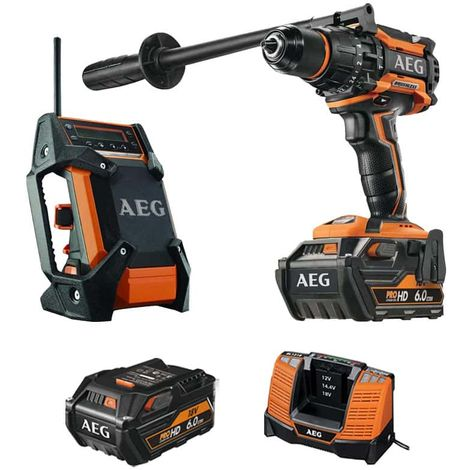 Pack AEG BSB18BL-602C 18V Brushless Percussion Drill BSB18BL-602C - Field radio 12-18V DAB+ USB BR 1218C-0 - 2 batteries