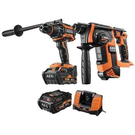 Pack AEG Marteau perforateur SDS Plus brushless 18V BBH18BL-0 - Perceuse percussion Brushless 18V BSB18BL-602C - 2 batteries 6.0Ah 1 chargeur