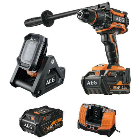 Pack AEG Perceuse percussion Brushless 18V BSB18BL-602C - Lampe de surface 18V BFL18X-0 - 2 batteries 6.0Ah 1 chargeur