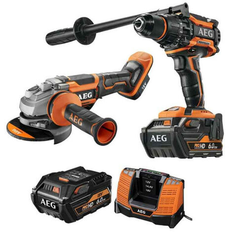 Pack AEG Perceuse percussion Brushless 18V BSB18BL-602C - Meuleuse Brushless 18V 125mm BEWS18-125BLPX-0 - 2 batteries 6.0Ah 1 chargeur