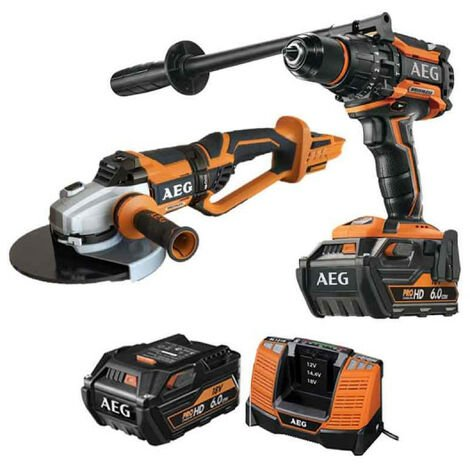 Pack AEG Perceuse percussion Brushless 18V BSB18BL-602C - Meuleuse Brushless 18V 230mm BEWS18-230BL-0 - 2 batteries 6.0Ah 1 chargeur