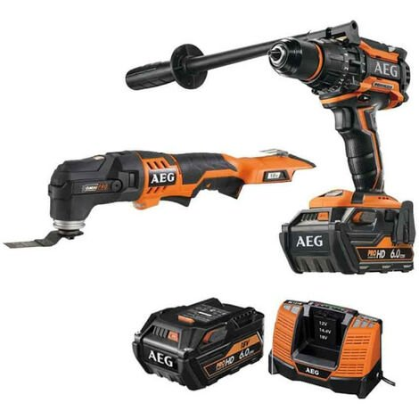 Pack AEG Perceuse percussion Brushless 18V BSB18BL-602C - Outil multifonctions 18V Li-ion OMNI18C-0KIT1X - 2 batteries 6.0Ah 1 chargeur