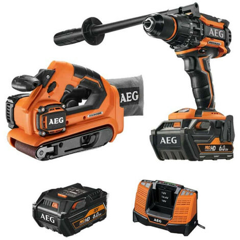 Pack AEG Perceuse percussion Brushless 18V BSB18BL-602C - Ponceuse à bande brushless 18V BHBS1875BL-0 - 2 batteries 6.0Ah 1 chargeur