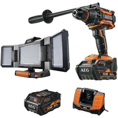 Pack AEG Perceuse percussion Brushless 18V BSB18BL-602C - Projecteur LED triple panneau 18V Prolithium-ion BPL18-02 - 2 batteries 6.0Ah 1 chargeur