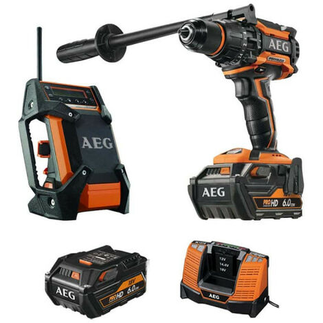 Pack AEG Perceuse percussion Brushless 18V BSB18BL-602C - Radio de chantier 12-18V DAB+ USB BR 1218C-0 - 2 batteries 6.0Ah 1 chargeur