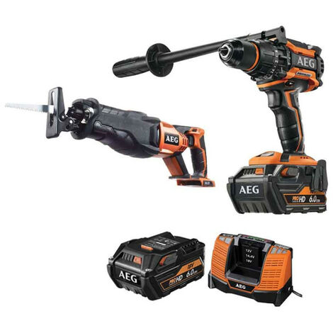 Pack AEG Perceuse percussion Brushless 18V BSB18BL-602C - Scie sabre 18V BUS18BL-0 - 2 batteries 6.0Ah 1 chargeur