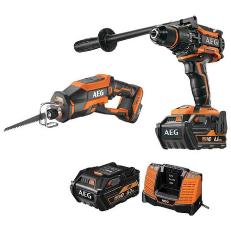 Pack AEG Perceuse percussion Brushless 18V BSB18BL-602C - Scie sabre compacte Brushless 18V BUS18CBL-0 - 2 batteries 6.0Ah 1 chargeur
