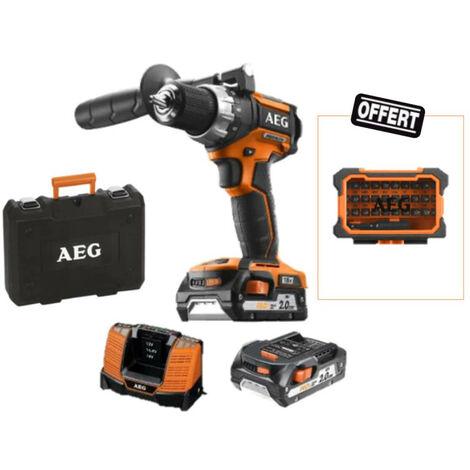 Pack AEG Perceuse visseuse 18V Brushless 2 batteries 2,0Ah 1 chargeur BS18CBL LI-202C - Coffret d'embouts 31 pcs offert