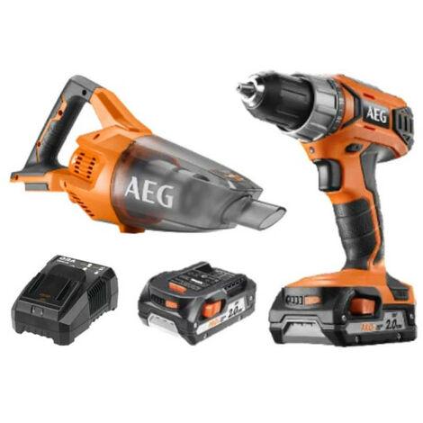 Pack AEG Perceuse visseuse 18V BS18G3-202C - Aspirateur 18V BHSS18-0 - 2 batteries 2.0Ah 1 chargeur