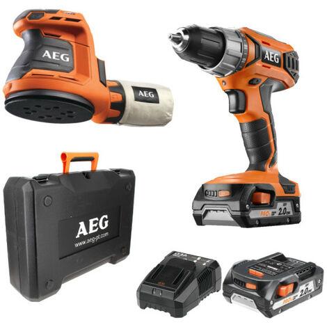 Pack AEG Perceuse visseuse 18V BS18G3-202C - Ponceuse excentrique 18V 125 mm Li-ion BEX18-125-0 - 2 batteries 2.0Ah 1 chargeur