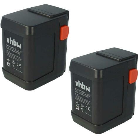 Pack ahorro 2 baterías Li-Ion marca vhbw 3000mAh (18V) para cortacésped Gardena AccuCut 400 Li (8840-20) sustituye 8835-U, 8835-20, 8839, 8839-20.
