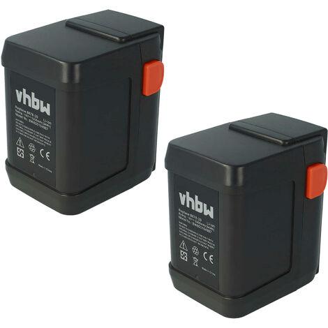 Pack ahorro 2 baterías Li-Ion marca vhbw 3000mAh (18V) para cortacésped Gardena AccuCut 400 Li sustituye 8835-U, 8835-20, 8839, 8839-20.
