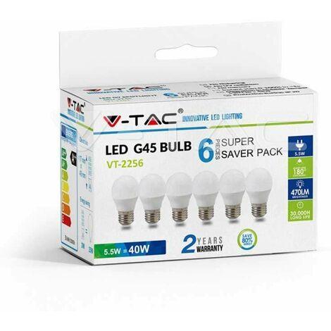 Pack Ahorro 6 Ud - Bombilla LED globo G45 E27 5.5W 180° Temperatura de color - 6400K Blanco frío