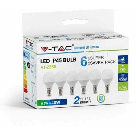 Pack Ahorro 6 Ud - Bombilla LED globo P45 E14 5.5W 180°