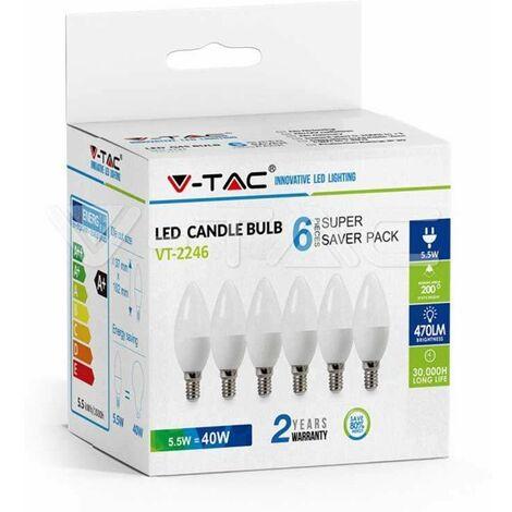 Pack Ahorro 6 Ud - Bombilla LED vela E14 5.5W 200° tapa blanca