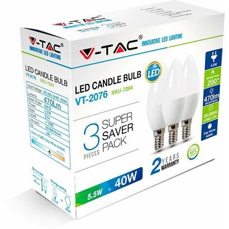 Pack Ahorro bombilla LED E14 B35 V-TAC Vela 5.5W (3 un)