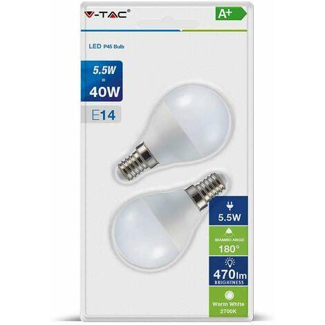 Pack ahorro Bombilla LED E14 P45 globo 5.5W (2 un)