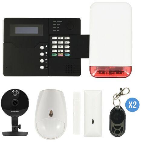 Pack alarme IP03 GSM avec sirène flash autonome et caméra IP Foscam C1 - Iprotect Evolution - {couleurs}