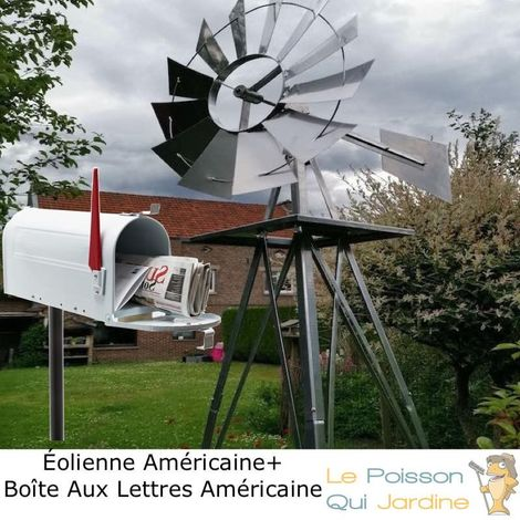 Pack Américain : 1 Éolienne US En Métal + 1 Boite Aux Lettres Blanche + Pied Support - Argentée