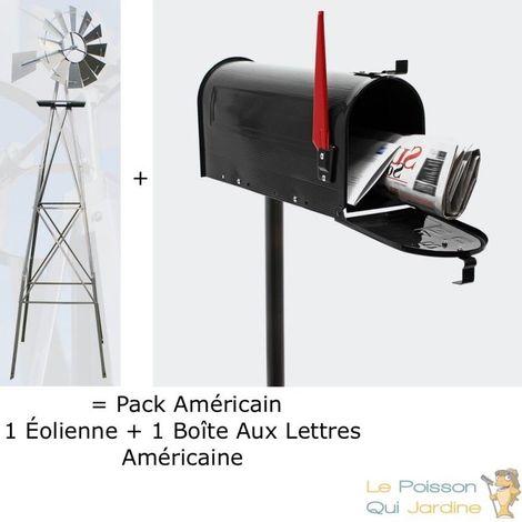 Pack Américain : 1 Éolienne US En Métal + 1 Boite Aux Lettres Noire + Pied Support - Argentée