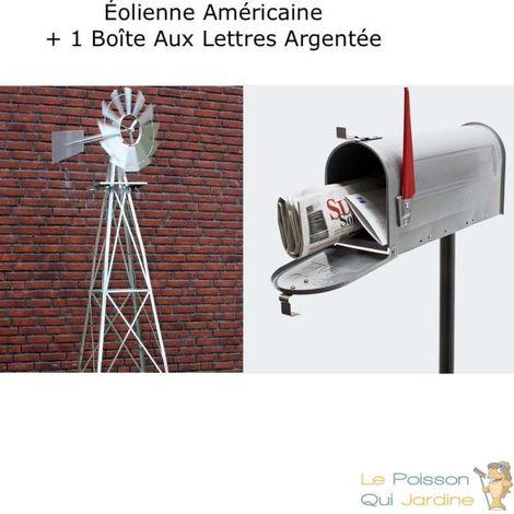 Pack Américain : 1 Éolienne US En Métal + 1 Boite Aux Lettres Verte + Pied Support - Argentée