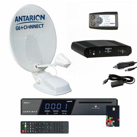 Pack ANTARION G6+ AIR 72 cm Antenne Satellite Automatique Microperforée + Positionneur + Récepteur TNTSAT Astra - Blanc