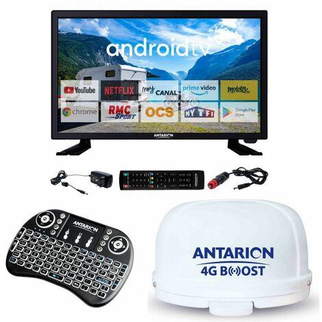 """main image of """"Pack ANTARION TV LED 19 48cm Téléviseur HD Connecté + Clavier Ergonomique + Antenne 4G - Noir"""""""