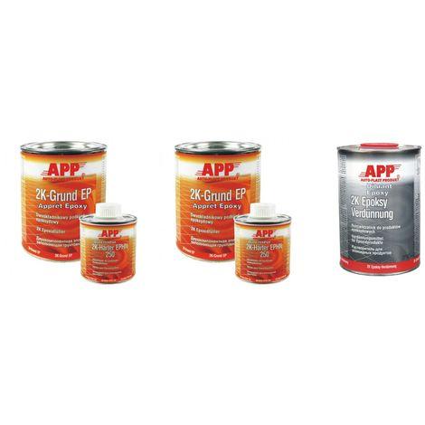 Pack Apprêt epoxy 2kg + durcisseur 0,4kg gris app + 1l diluant epoxy