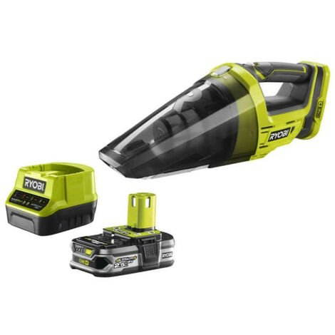 Pack aspirateur à main RYOBI 18V One Plus R18HV-0 - 1 batterie 2.5Ah LithiumPlus - chargeur rapide 2.0Ah RC18120-125