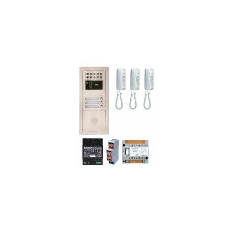 Pack audio GTBA3E avec 3 boutons et 3 postes GT1D préprogrammés, plat inede rue encastrée - AIPHONE '' - GTBA3E.