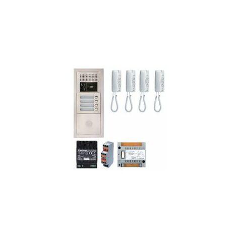 Pack audio GTBA4E avec 4 boutons et 4 postes GT1D préprogrammés, plat ine de rue encastrée - AIPHONE '' - GTBA4E.