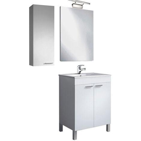 Pack Baño completo 60 con 2 Puertas, Mueble con lavabo PMMA y Espejo + Columna, Lámpara y Grifería Incluida
