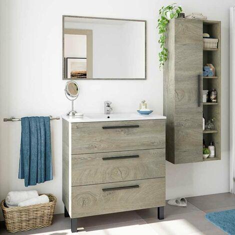 """main image of """"Pack baño Completo Color Roble Alaska Industrial (Mueble baño + Espejo + Columna) Lavabo CERÁMICO Incluido"""""""