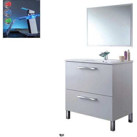 Pack Baño: Mueble + Espejo + Lavabo Cerámico + Grifo Cascada LED RGB Cambio Color